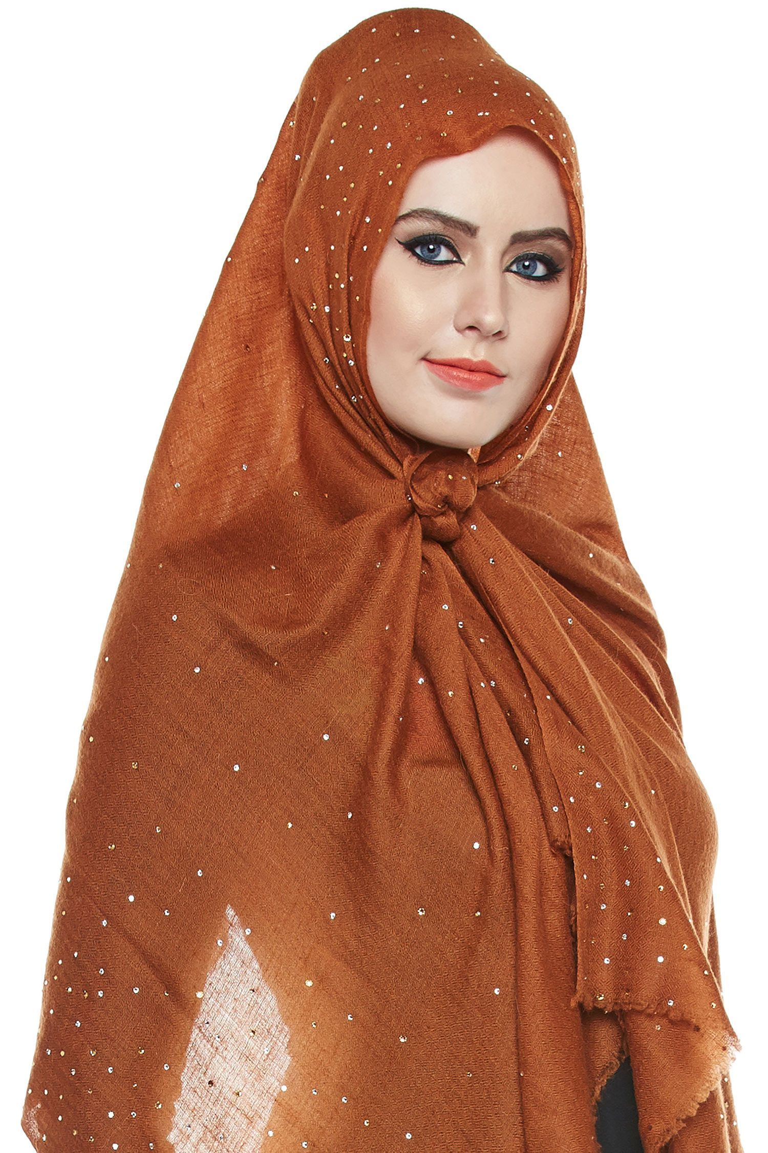 Brown Pashmina Hijab With Swarovski Crystals