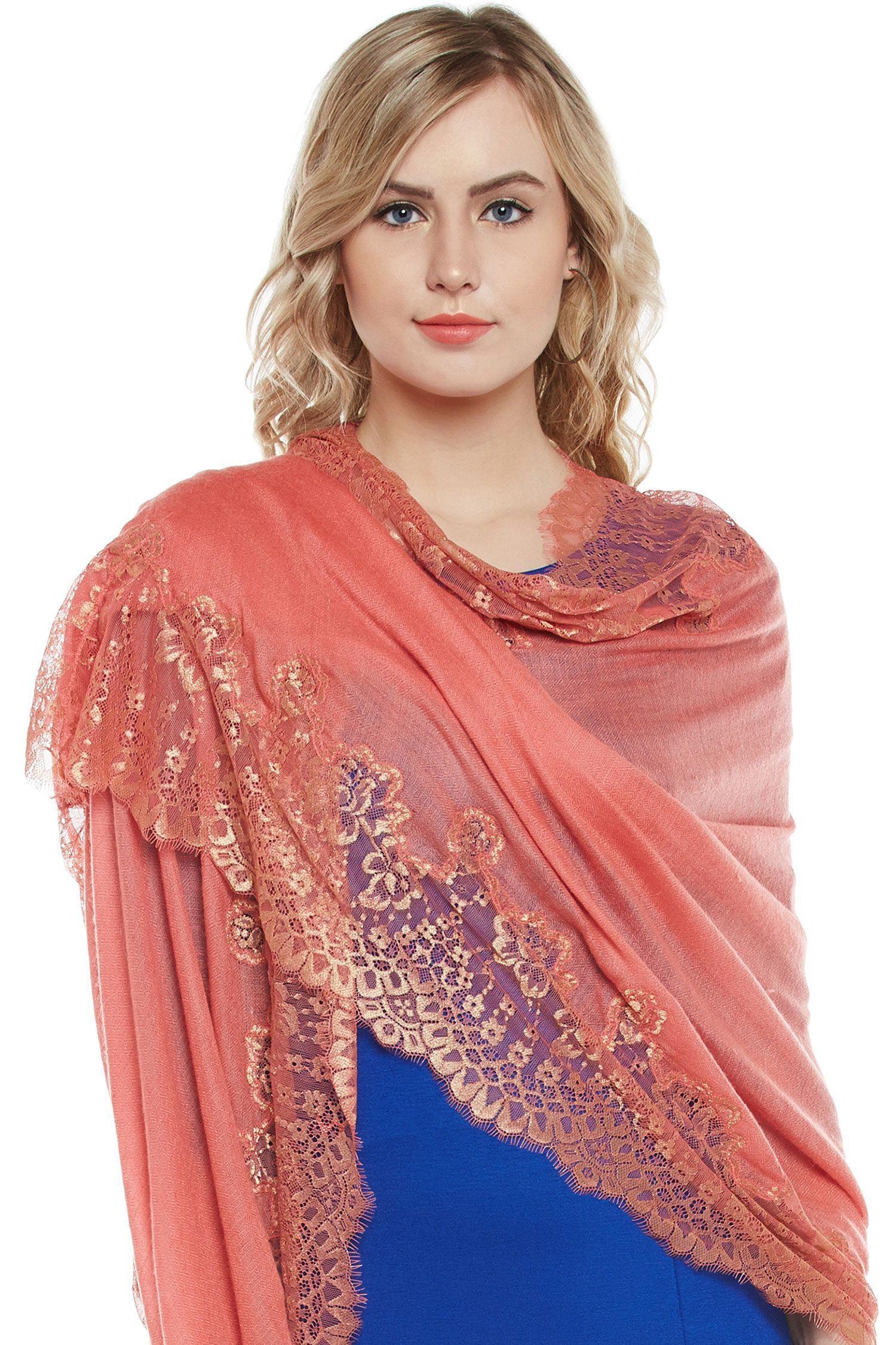 Coral Lace-Paneled Cashmere Wrap | Pure Pashmina