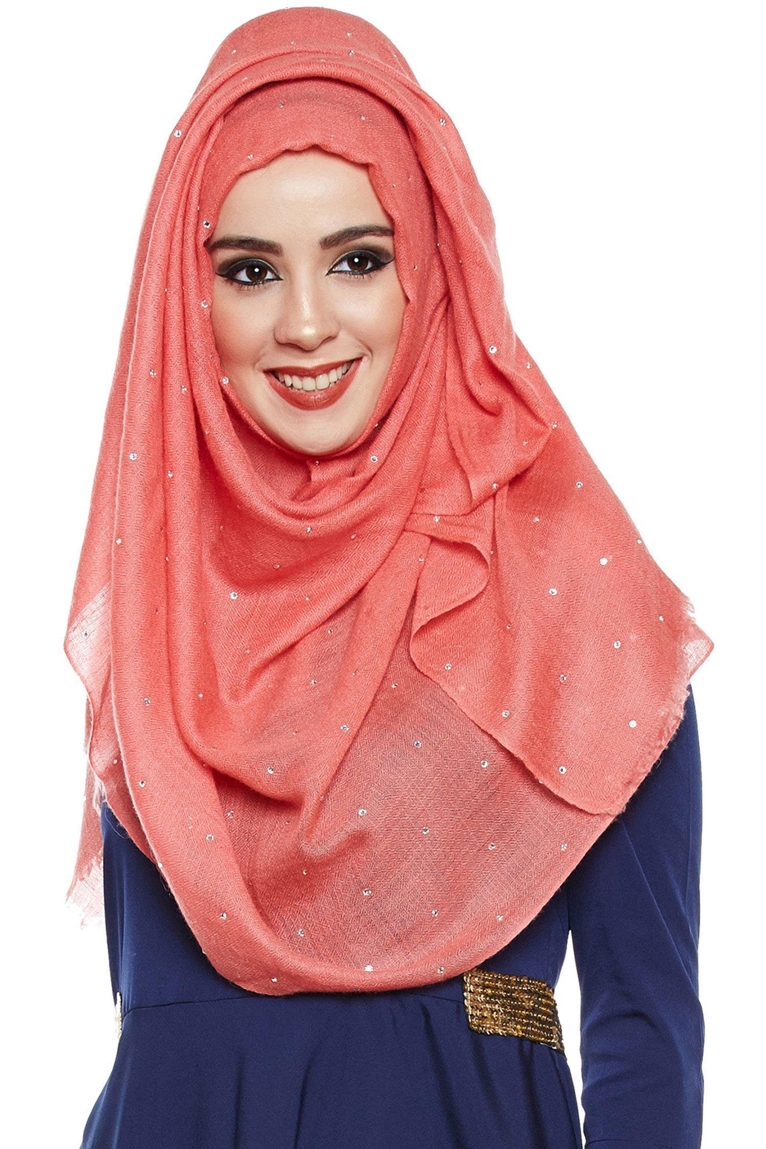 Coral Pashmina Hijab With Swarovski Crystals
