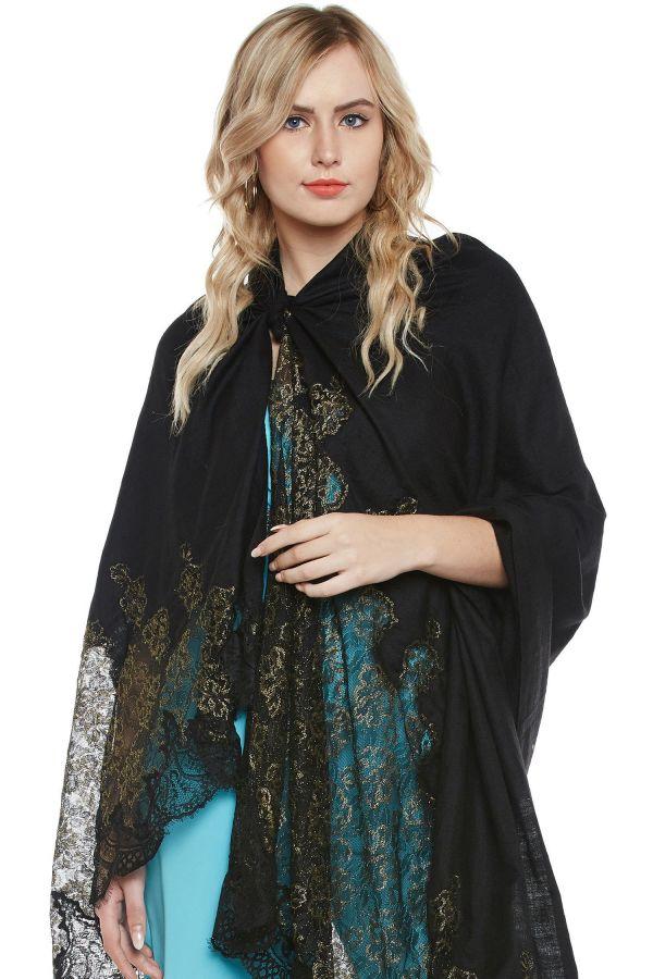 Black Chantilly Lace Shawl