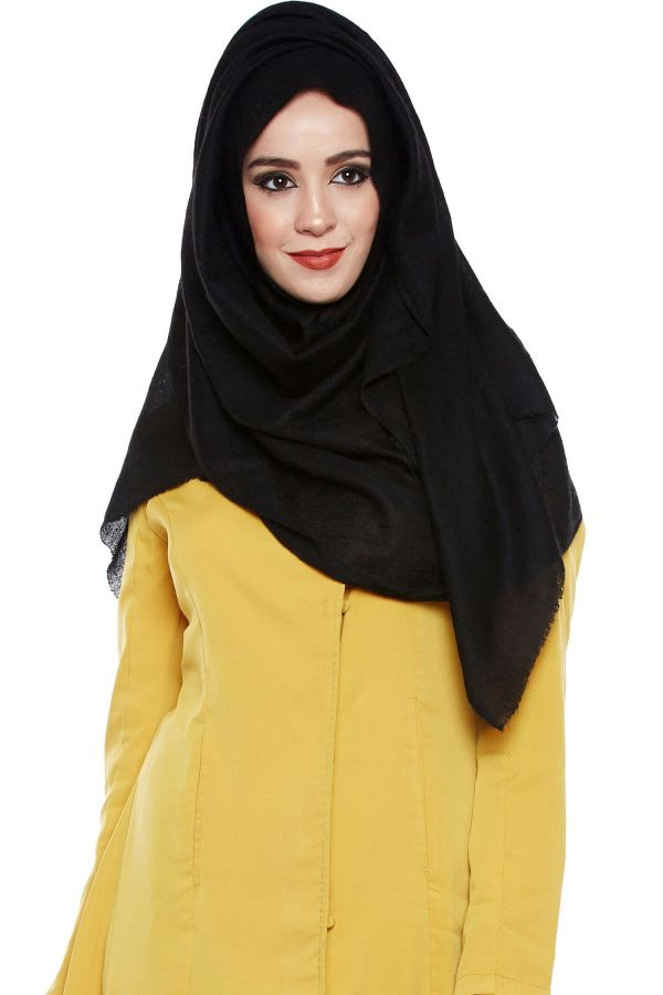 Black Pashmina Hijab | Handmade Cashmere Head Scarf
