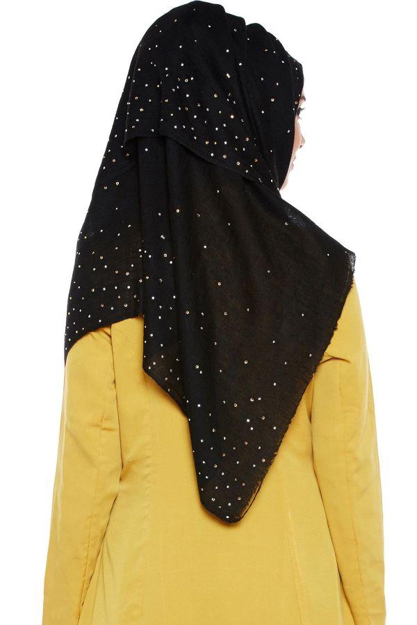Black Wandering Stars Pashmina Hijab With Swarovski Crystals