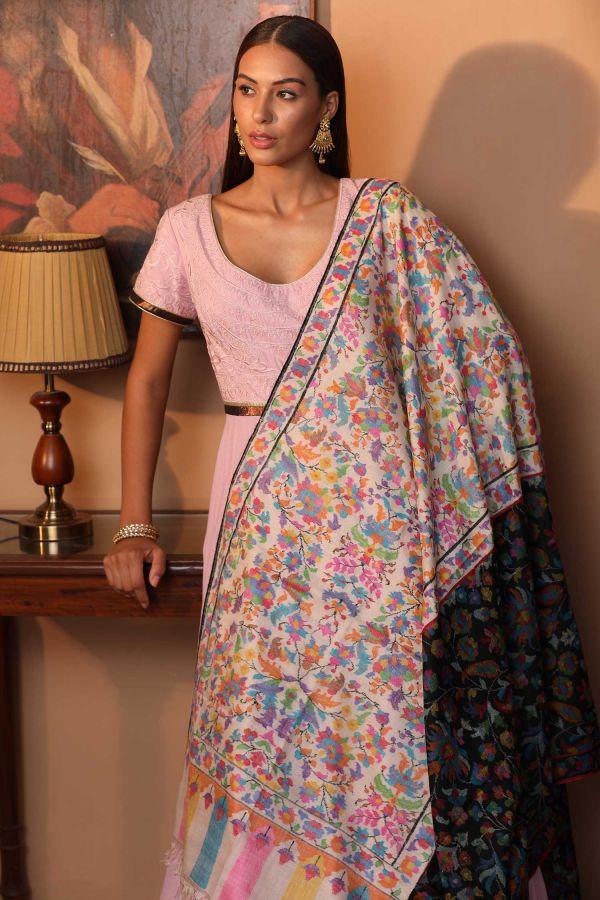 Black White Kani Pashmina Shawl