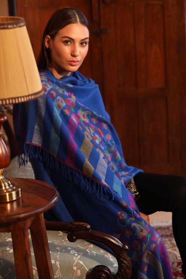 Blue Kani Cashmere Wrap | Pure Pashmina