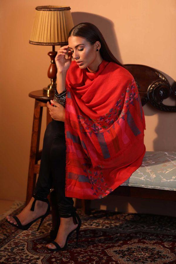 Bright Coral Kani Cashmere Wrap   Pure Pashmina