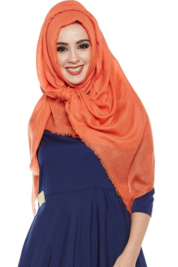 Bright Coral Pashmina Hijab | Handmade Cashmere Head Scarf