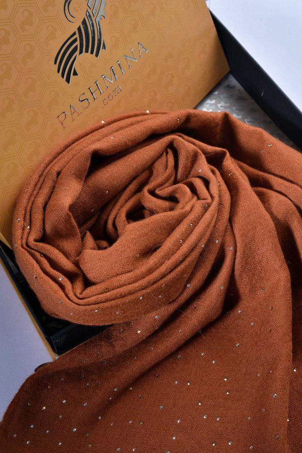 Brown Swarovski Studded Pashmina Shawl