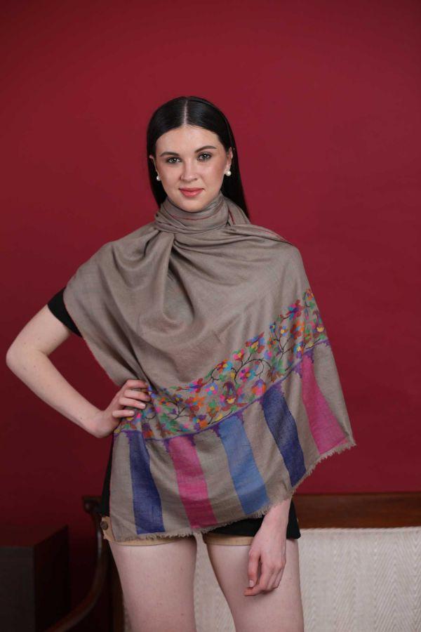 Coin Grey Kani Cashmere Wrap | Pure Pashmina
