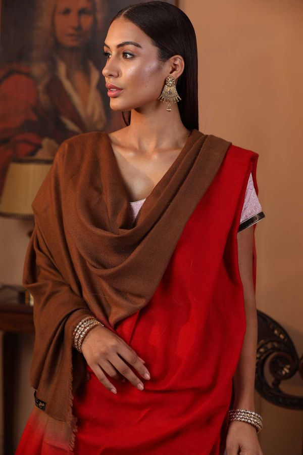 Coral Brown Ombre Pashmina Shawl