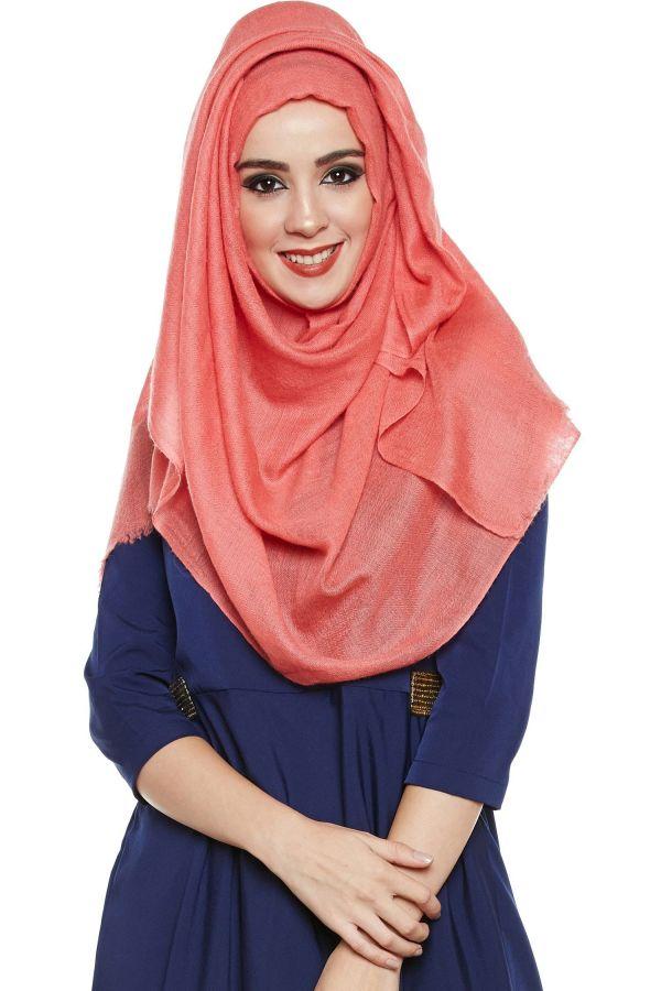 Coral Pashmina Hijab   Handmade Cashmere Head Scarf