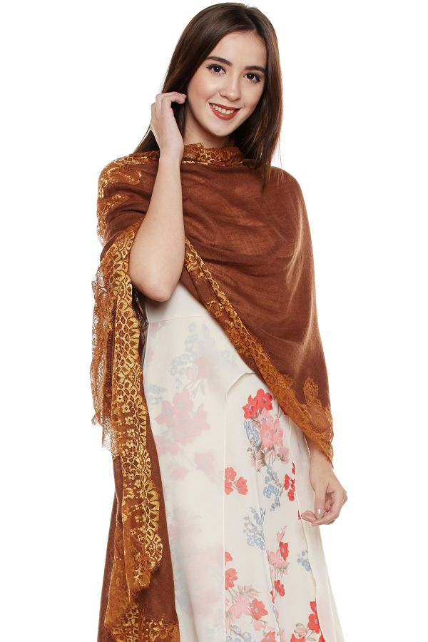 Dark Brown Lace-Paneled Cashmere Wrap | Pure Pashmina