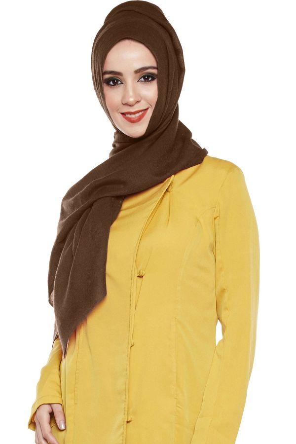 Dark Brown Pashmina Hijab | Handmade Cashmere Head Scarf