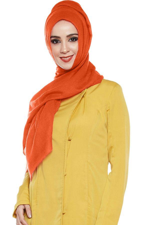 Dark Orange Pashmina Hijab | Handmade Cashmere Head Scarf