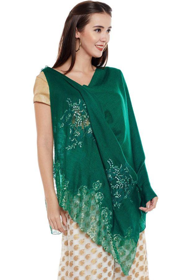 Emerald Green Lace-Paneled Cashmere Wrap | Pure Pashmina