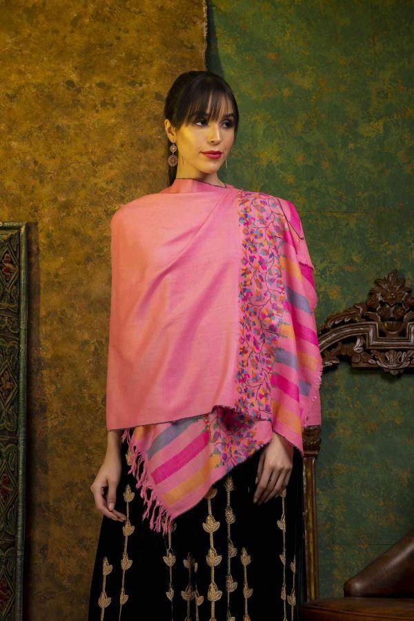Floral Pink Kani Cashmere Wrap