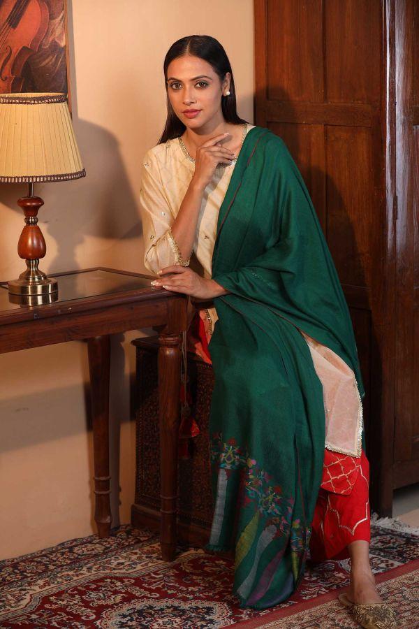Green Kani Cashmere Wrap   Pure Pashmina