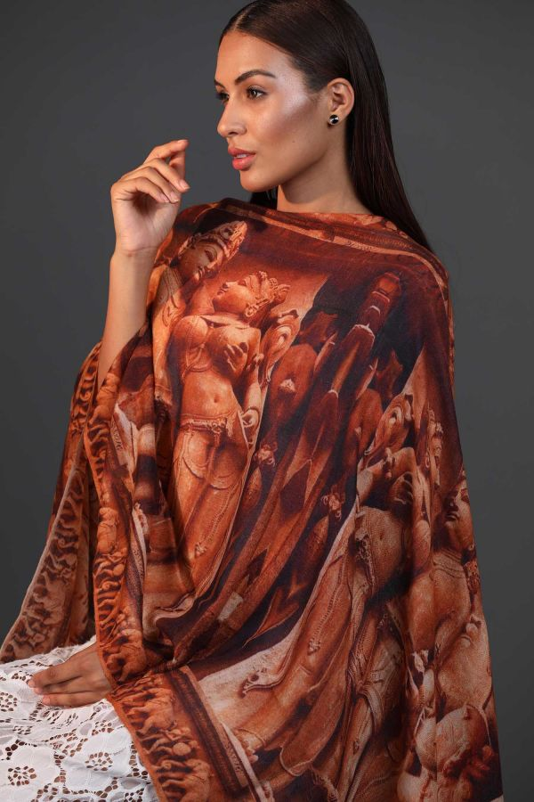 Khajuraho Printed Cashmere Wrap | Pure Pashmina