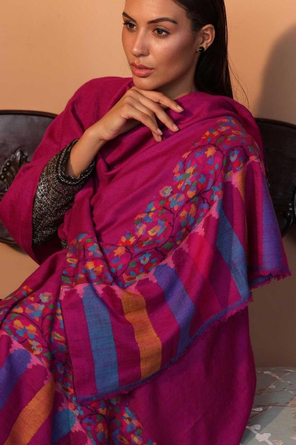 Magenta Kani Cashmere Wrap | Pure Pashmina