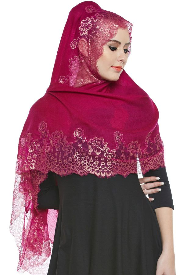 Magenta Pashmina Lace Hijab