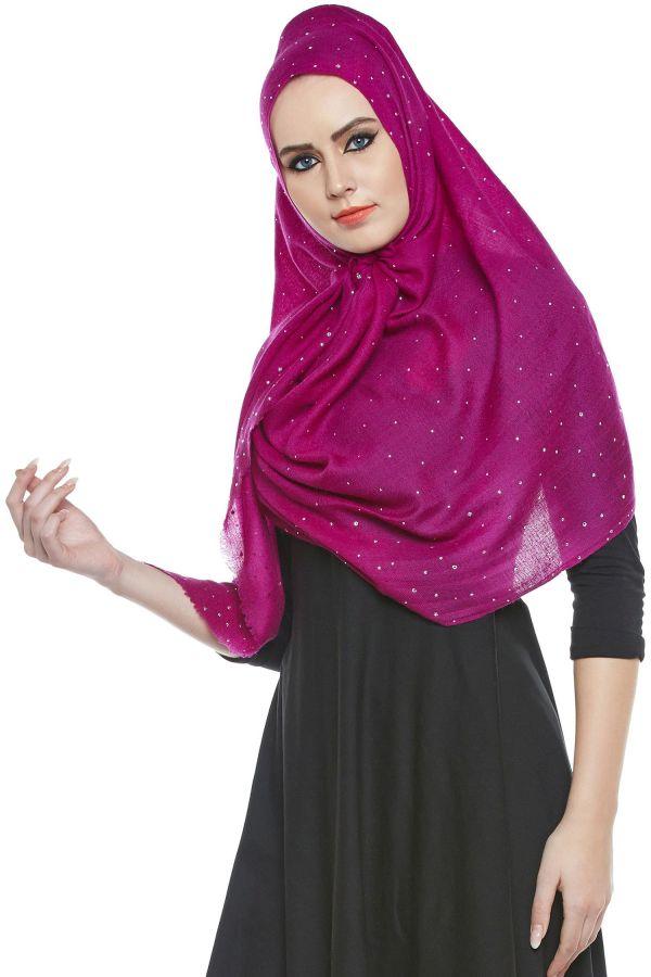 Magenta Pashmina Hijab With Swarovski Crystals