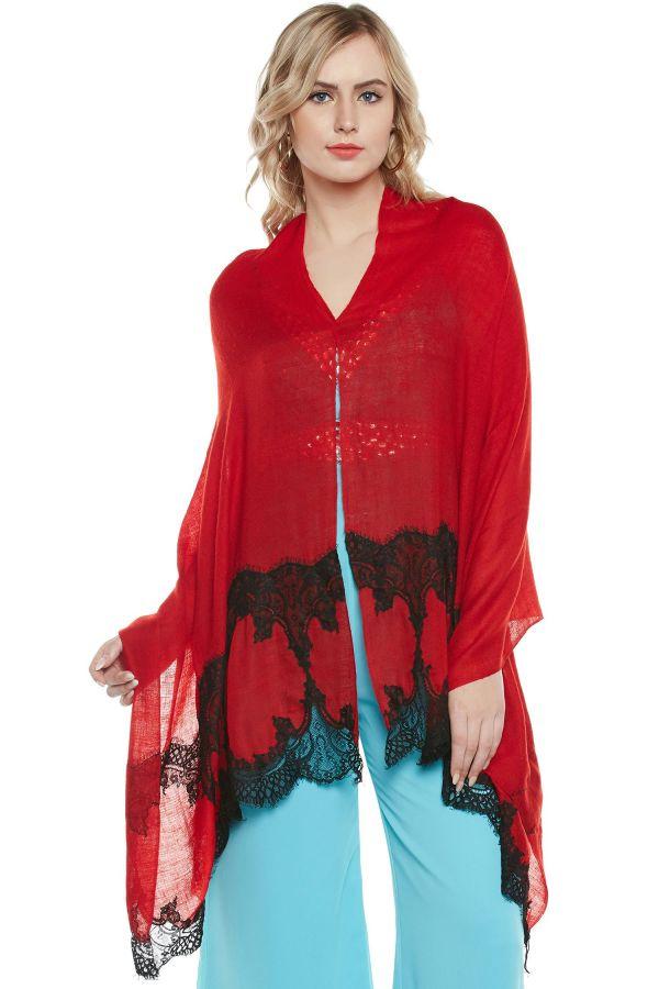 Maroon Black Lace-Paneled Cashmere Wrap | Pure Pashmina