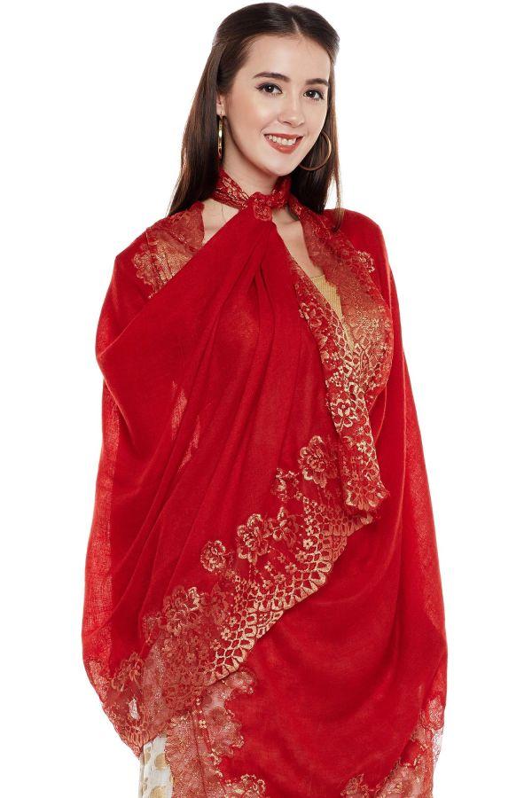 Maroon Lace-Paneled Cashmere Wrap | Pure Pashmina