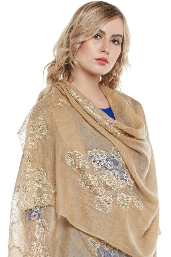 Mocha Lace-Paneled Cashmere Wrap | Pure Pashmina