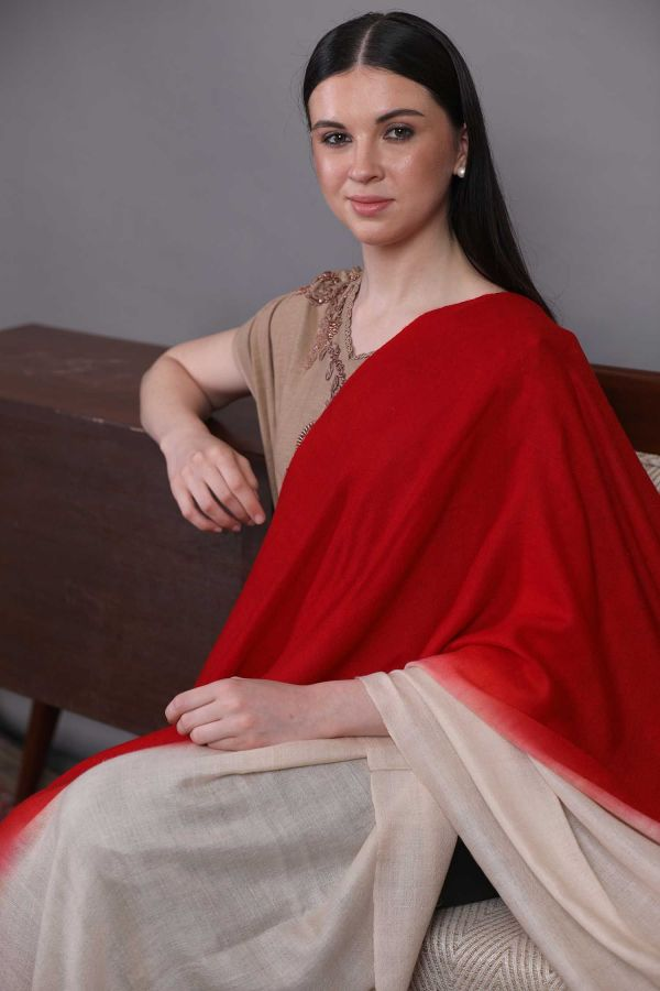 Red And White Ombre Pashmina Shawl