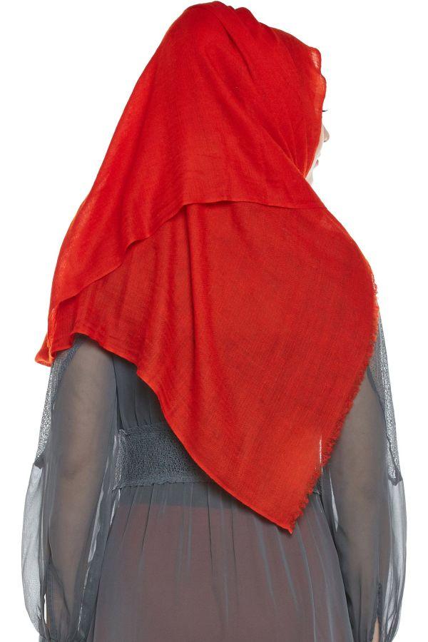 Red Pashmina Hijab | Handmade Cashmere Head Scarf