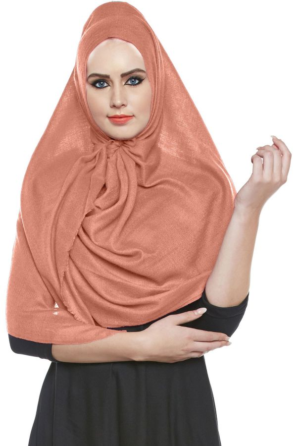 Salmon Pashmina Hijab   Handmade Cashmere Head Scarf