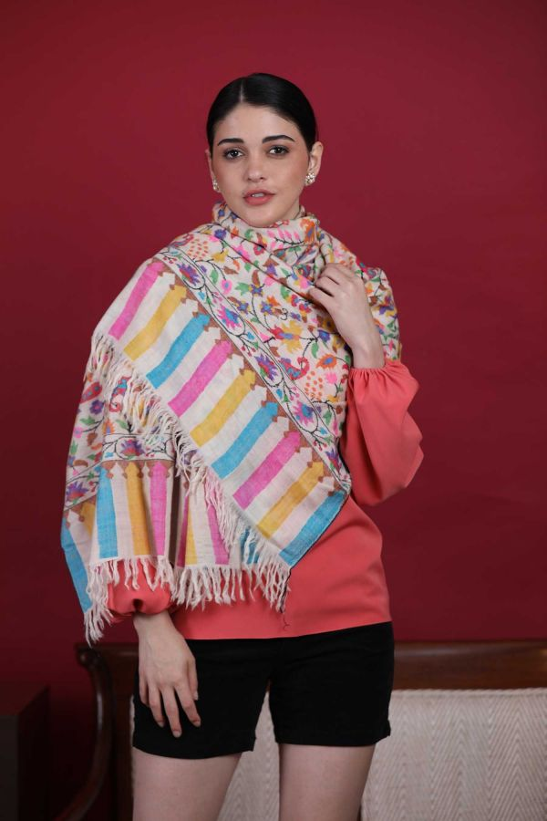 Snow White Kani Cashmere Wrap | Pure Pashmina