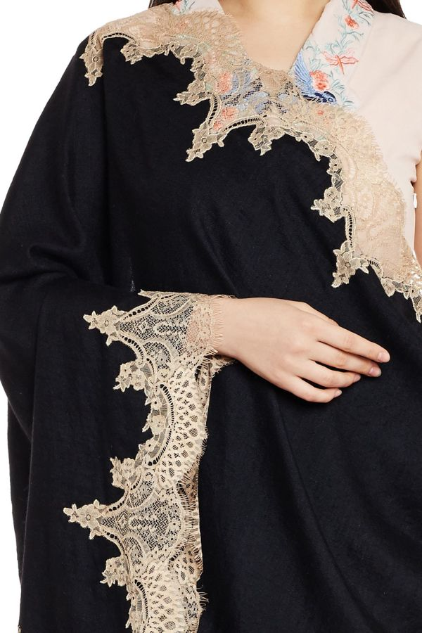 Black & Mocha Chantilly Lace Shawl