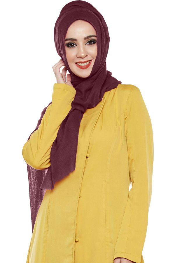 Burgundy Pashmina Hijab   Handmade Cashmere Head Scarf