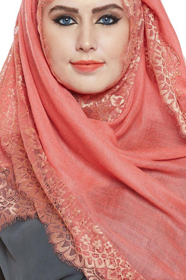 Coral Pashmina Lace Hijab
