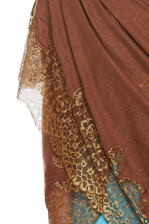 Dark Brown Chantilly Lace Shawl