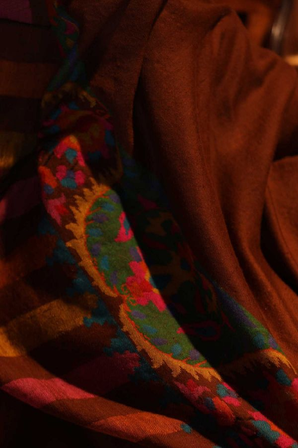 Deep Brown Kani Cashmere Wrap | Pure Pashmina