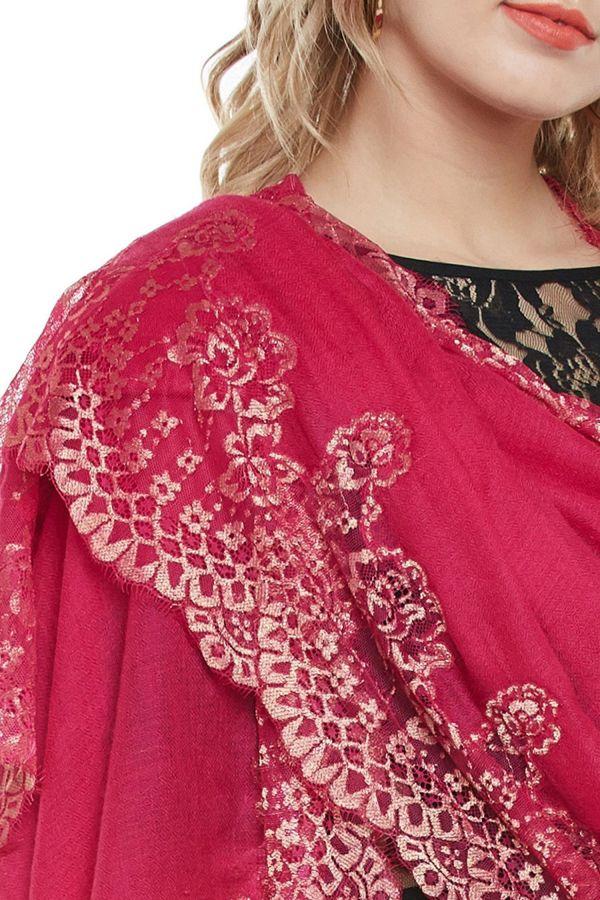 Fuchsia Lace-Paneled Cashmere Wrap | Pure Pashmina
