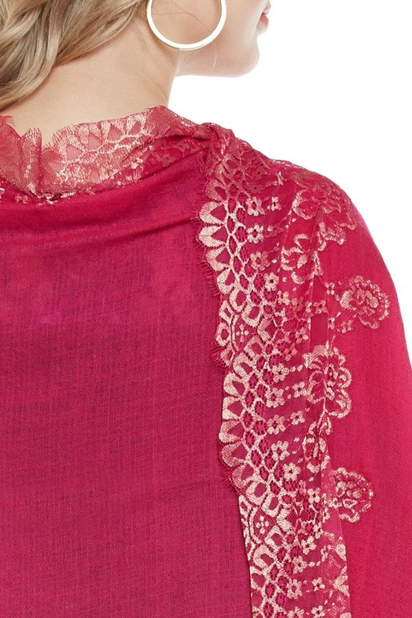 Magenta Lace-Paneled Cashmere Wrap | Pure Pashmina
