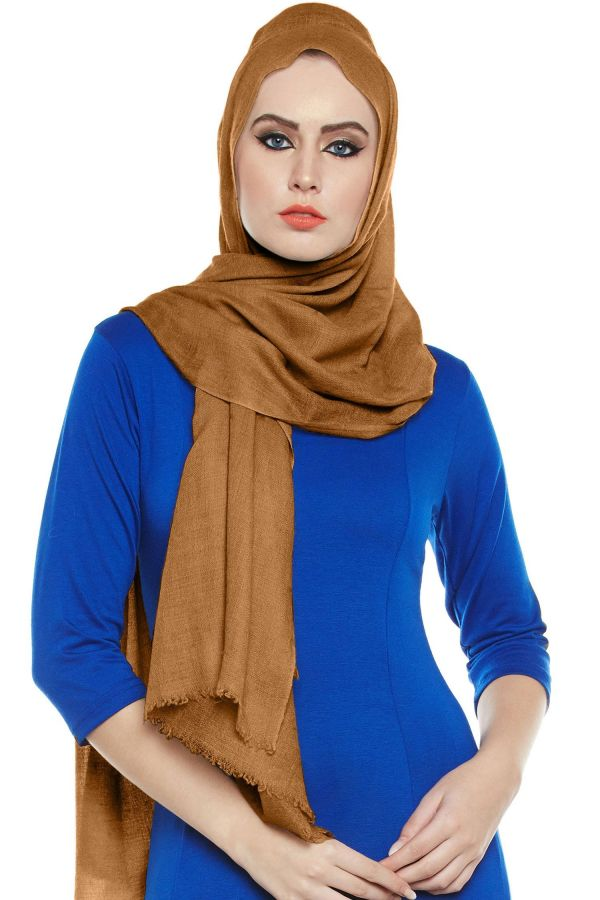 Sudan Brown Pashmina Hijab | Handmade Cashmere Head Scarf
