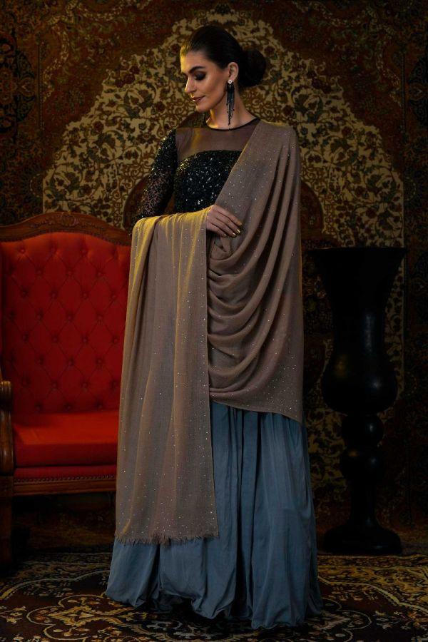 Toosh Swarovski Studded Handcrafted Pashmina Shawl