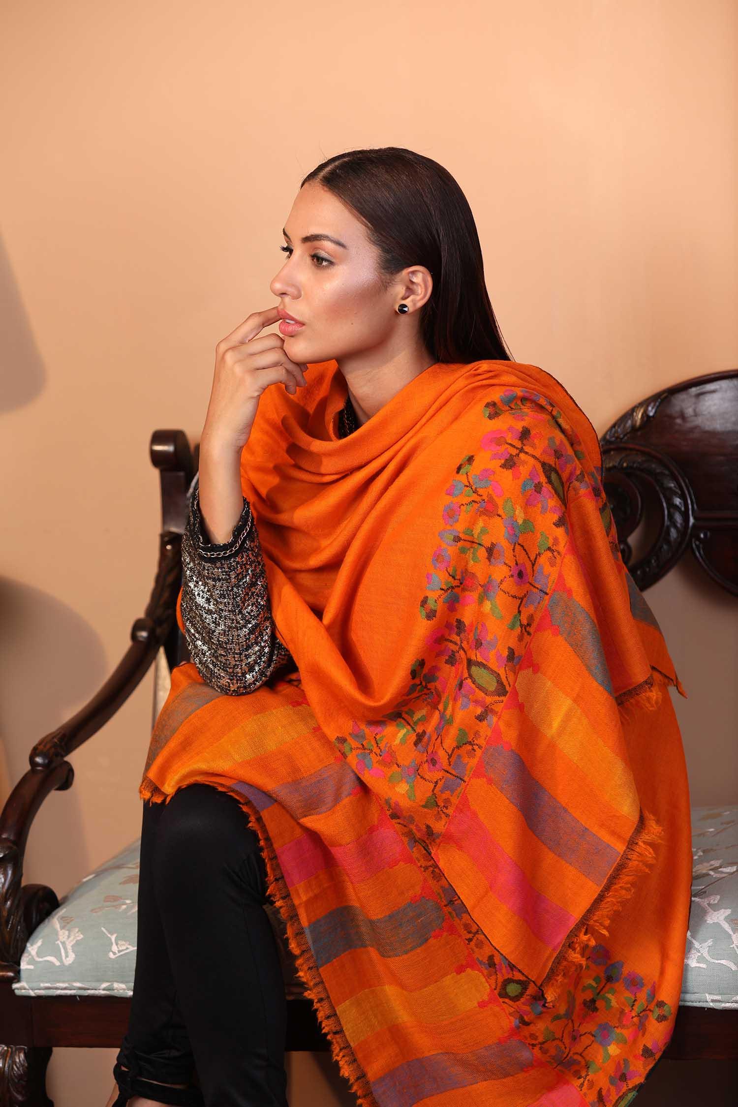 Orange Kani Cashmere Wrap | Pure Pashmina