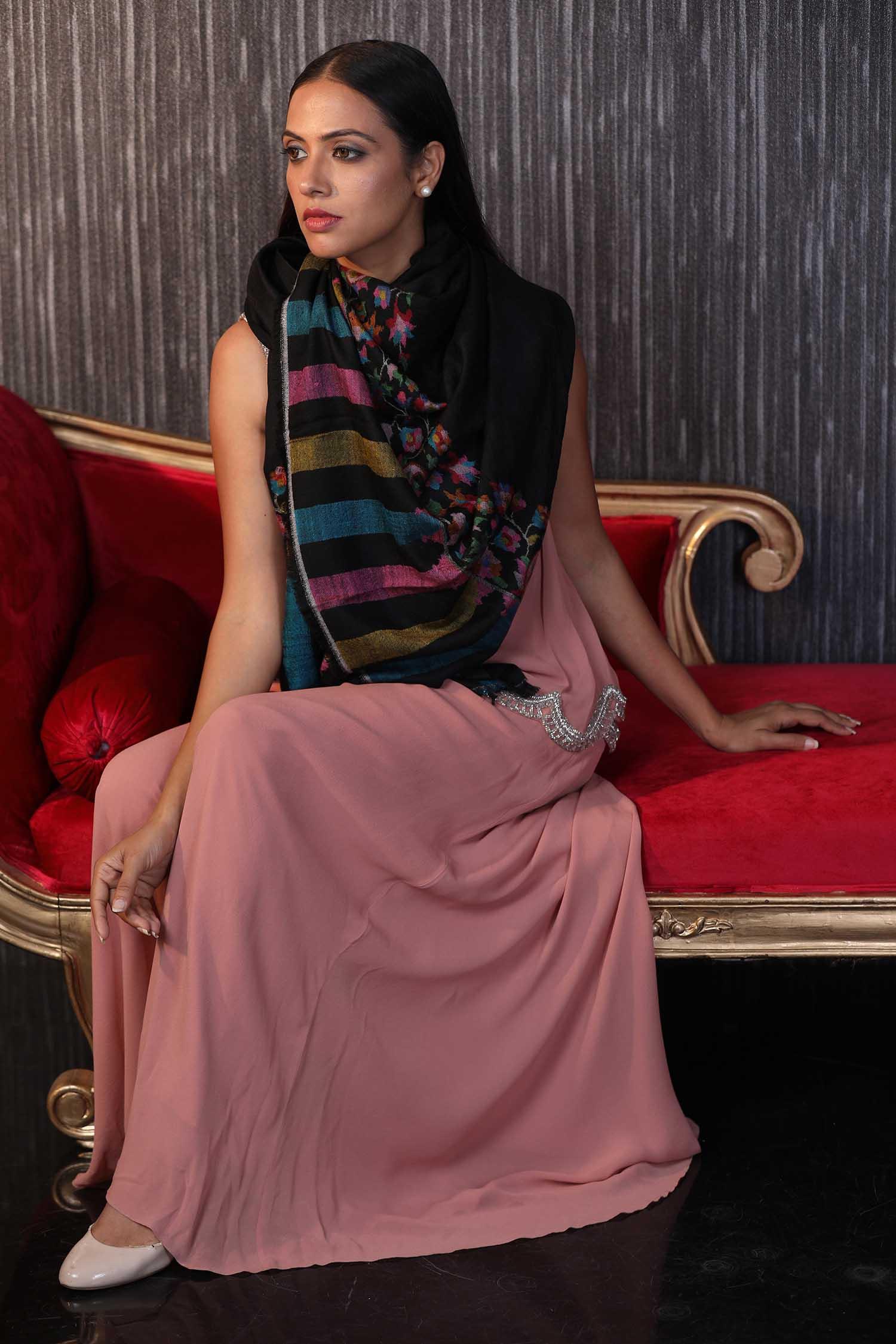 Black Kani Cashmere Wrap | Pure Pashmina