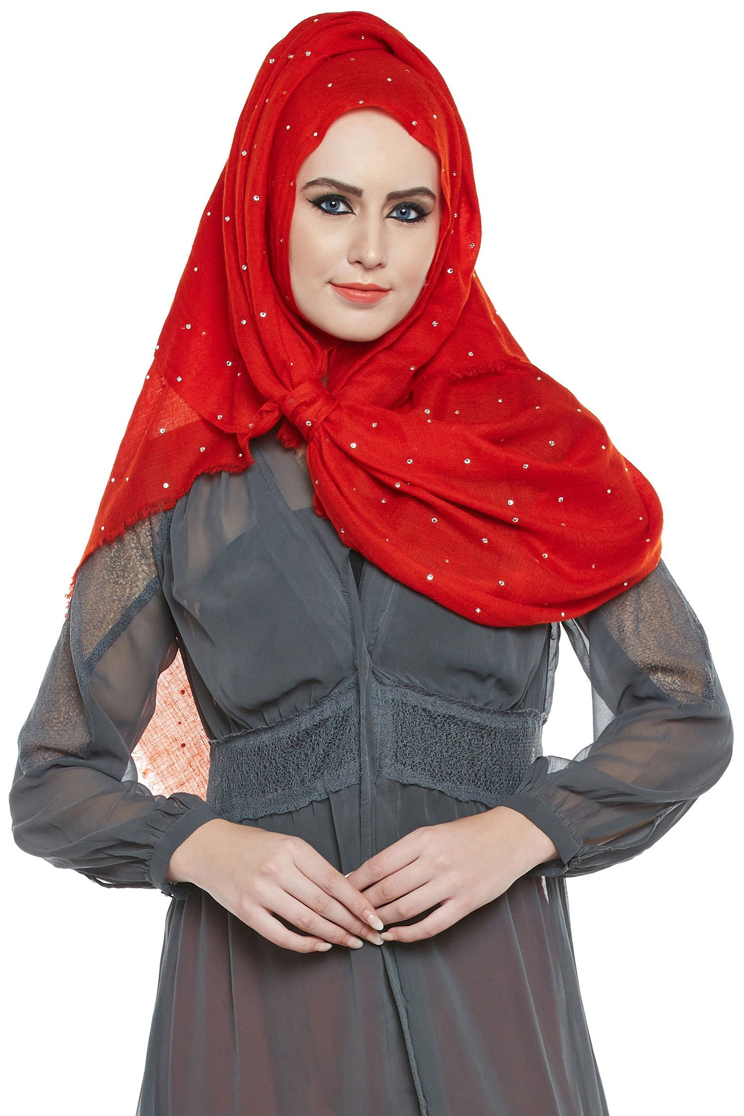 Red Pashmina Hijab With Swarovski Crystals