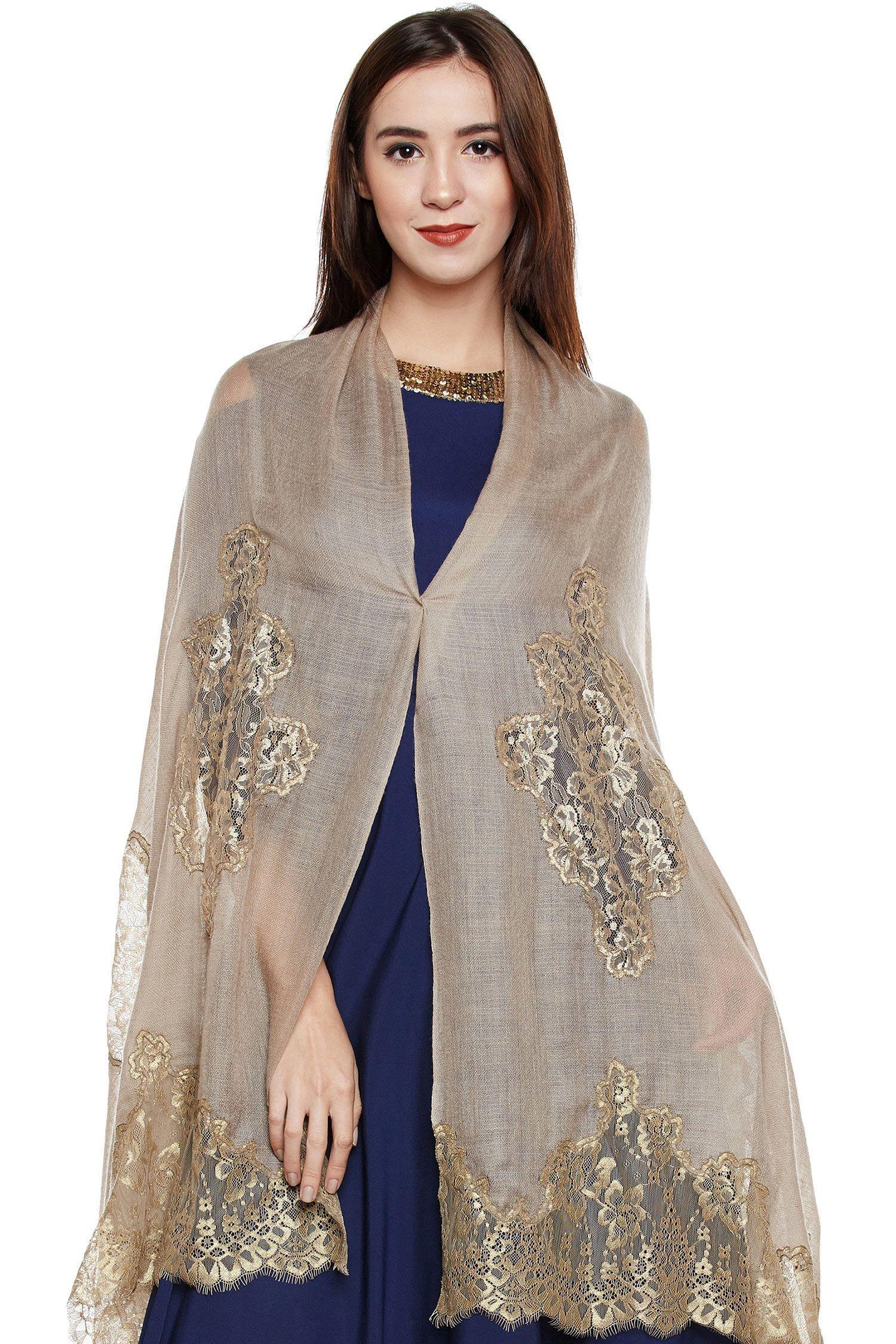 Toosh Lace-Paneled Cashmere Wrap | Pure Pashmina