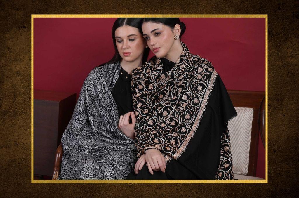 Kashmiri Shawl Floral embroidery Cashmere Scarf Wool Shawl Black